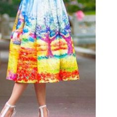 Vantage beautiful colorful skirts Colorful vintage panting pleated midi skirt knee length Dresses