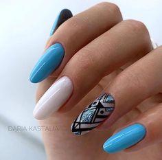 Nail Shapes - My Cool Nail Designs Blue Nail Designs, Winter Nail Designs, Cool Nail Designs, Blue Nails, White Nails, My Nails, Round Nails, Oval Nails, Bright Summer Nails