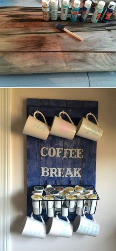 DIY Pallet Coffee Station. Click on image to see more DIY home decor crafts and ideas.