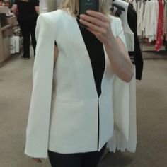 In love with this BCBG White Cape Blazer!