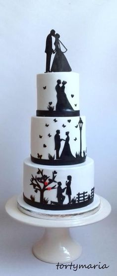 Wedding cake with silhouette by tortymaria - http://cakesdecor.com/cakes/271295-wedding-cake-with-silhouette
