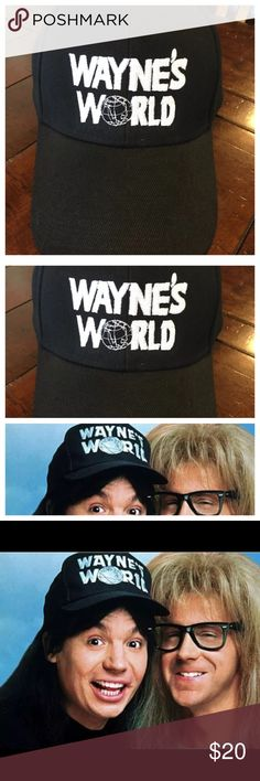 Wayne's World adjustable baseball hat Black hat with white embroidered lettering Accessories Hats