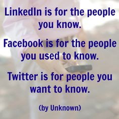 Do you agree? Is LinkedIn for your current connections, Facebook for old connections, and Twitter for potential connections?