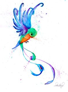 Tattoo watercolor Quetzal bird acuarela #madebyme