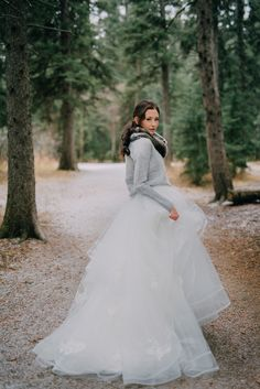 Hayley Paige gown with dove gray sweater, perfect for a winter bride!
