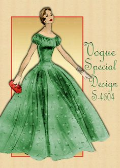 1950s Dress Pattern Vogue Special Design S4604 Vintage Cocktail Dress or Full Length Gown for Special Occasions