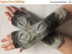 Gray Fingerless Gloves Christmas Gift Knit Gloves by Initasworks