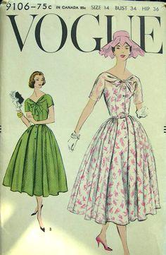 Vogue ca Sz 34 1950s Outfits, Vintage Outfits, Vintage Fashion, Pin Up Princess, Vintage Vogue Patterns, Print Patterns, Paper Patterns, One Piece Dress, Dance Dresses