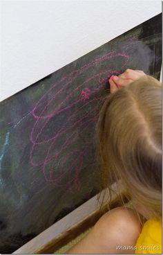 Storytelling on a chalkboard - a wonderful pretend play literacy activity for kids!
