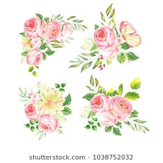 Delicate watercolor bouquet of roses