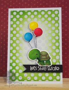 Paper Smooches Party Posse; Stencil; polka dots; turtle; birthday; emboss resist