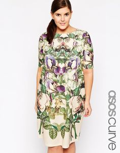 Image 1 of ASOS CURVE Shift Dress In Botanical Mirror Floral