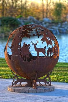 deer fire pit Up North Sphere Custom Outdoor Fire Pit Deer Moose Minnesota Fire Pit Sphere, Metal Fire Pit, Fire Pits, Gouts Et Couleurs, Minnesota, Fire Pit Gallery, Custom Fire Pit, Custom Metal, Fire Pit Materials