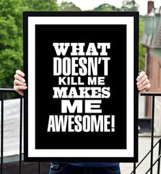 "Black and White Motivational Inspirational Print Quote ""What Makes Me Awesome..."" Wall Decor Poster Sign Subway Art"
