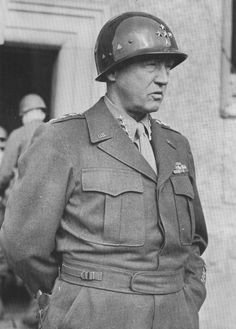 """""""A warring, roaring comet,"""" as one reporter described George Patton, the U.S. Third Army commander, seen here after his promotion to four-star general."""