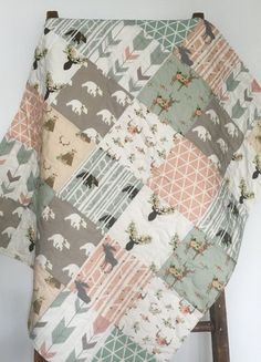 Baby Quilt Baby Girl Quilt Woodland Baby Quilt Stag by CoolSpool