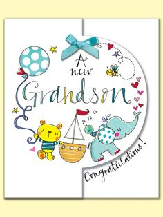 A new Grandson Congratulations. Greeting Card by Rachel Ellen Designs Baby Born Congratulations, Congratulations On Your Wedding Day, Grandma Cards, Baby Boy Quotes, Baby Blessing, New Baby Cards, Baby Christening, New Baby Boys, Baby Boy Shower