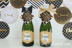 A Sparkly New Year's Eve-darling little champagne bottles dressed up! #champagne #New Year's Eve