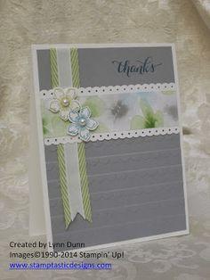 Colours - Smoky Slate, Watercolour Wonder dsp Whisper White card base. Scalloped textured embossing folder. Pear Pizzazz chevron ribbon, white taffeta ribbon. Petite Petals flowers - Pear Pizzazz & Island Indigo.