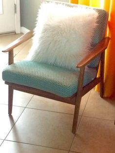 I Just Re Upholstered The Seat And Back Cushions For This Danish Mid Century Walnut