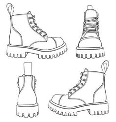 Set of drawings with boots isolated objects vector Satz Zeichnungen mit Stiefel. - Set of drawings with boots isolated objects vector Satz Zeichnungen mit Stiefeln isolierten Objektv - Fashion Design Sketchbook, Fashion Design Drawings, Fashion Sketches, Drawing Fashion, Clothing Sketches, Shoe Sketches, Dress Sketches, Flat Drawings, Art Drawings Sketches