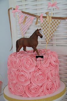 Pony Party So many beautiful party details to L♥VE about this Pony Party … ♥ Pink swirl buttercream cake with horse cake topper ♥ Divine pink gingham table cover ♥ Pink & gold shimmers ♥ … Horse Theme Birthday Party, Horse Party, 4th Birthday Parties, 2nd Birthday, Horse Birthday Cakes, Country Birthday Party, Birthday Ideas, Cowboy Party, Pony Party