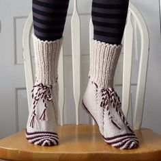 Knitted Socks / Slippers in White and Red with by MariasNeedleArt, $30.00