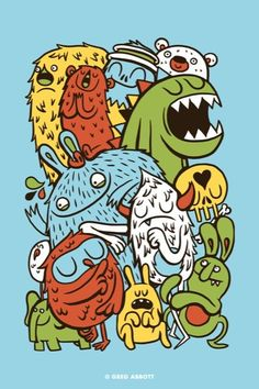 Gather Round By Gregg Abbott Illustration Monster Sketch, Doodle Monster, Cute Monsters, Little Monsters, Monster Illustration, Illustration Art, Monster Characters, Art Sketchbook, Cartoon Drawings