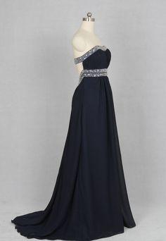 Dark Navy Prom Dress Sweetheart Long Chiffon by harsuccthing, $133.00