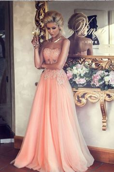 A-line Sweetheart Neck Strapless Sleeveless Beaded Lace Appliqued Floor-length Blush Pink Prom Dresses