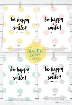 Free Printable: Be Happy + Smile from Happy Paperie®