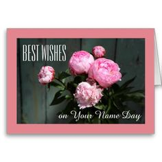 Shop Best wishes, name day card pink peonies on blue created by imagineallart. Personalize it with photos & text or purchase as is!