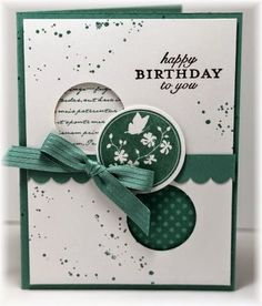 The card - stamped image is from SU. I punched two circles in the panel, then… Handmade Birthday Cards, Birthday Cards For Women, Happy Birthday Cards, Bday Cards, Homemade Cards, Making Greeting Cards, Greeting Cards Handmade, October 10, Serene Silhouettes
