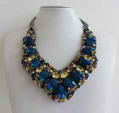 Statement necklace, Stunning necklace, Strass necklace, Awesome necklace, Collar necklace with rhinestone and Swarovski strass IV149 by IvMiro on Etsy