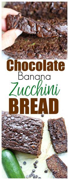 Chocolate Banana Zucchini Bread recipe | quick bread recipe | healthy recipe | healthy dessert | whole grains | Greek Yogurt |