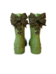 Timber & Tamber Rain Boots Rubber Gumboots by TimberAndTamberBoots, $47.00. Ok, some items are just go that extra mile in making ya smile, and these boots definitely fit the bill! WHAT FUN! Gloriously kitschy rubber boots in olive, with terrific bows on back, all for under $50? Perfection!