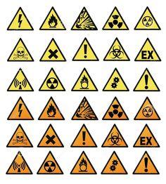 Verzameling van borden van gevaarlijke stoffen.