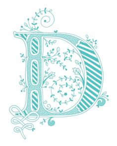 Hand drawn monogrammed print, 8x10, the Letter D, in the color blue