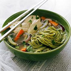 Jasmine Chicken Soup with Green Tea Soba Recipe | I ADORE Jasmine Tea! And it is in a soup!?!? This has to be good. MyRecipes.com
