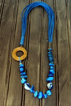 Blue Agate Necklace Tagua Necklace Recycled Blue Glass Necklace Mothers Day Necklace Statement Necklace Blue cotton cord Eco Friendly on Etsy, $32.00