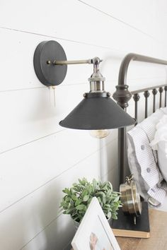 Farmhouse master bedroom industrial sconce lighting  Our #Farmhouse Master Bedroom update with /raymourflanigan/! Its ALL about the details! AD