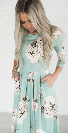 Kyra Floral Dress- this would be PERFECT as an Easter dress and throughout Spring and Summer!!! #floraldress #easterdress {aff}