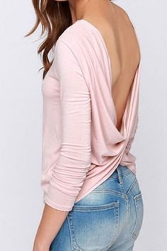 Love Love Love! Great with Faded Blue Jeans! Sexy Pale Pink Crossover Back Top - THE SHADE OF PINK IS JUST 'DELICIOUS!!'