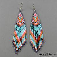 Схемы сережек - мозаичное / кирпичное плетение