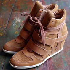 Ash taupe suede wedge trainers.