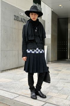 Tokyo street style, wearing comme des garcons