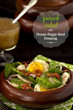 Spinach Salad with Poppyseed Dressing - a delicious, classic salad everyone seems to go crazy over. Lunch Recipes, Salad Recipes, Breakfast Recipes, Dinner Recipes, Cooking Recipes, Healthy Recipes, Egg Recipes, Spinach Recipes, Delicious Recipes