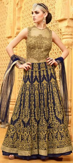 457973: Beige and Brown,Blue  color family  stitched Anarkali Suits .