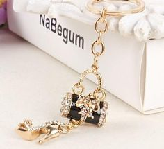 FREE SHIPPING New Elegant Butterfly Bow & Stiletto Crystal Pendant Purse Key Ring Chain