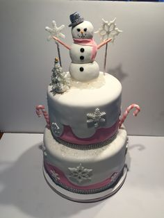 Pink snowman birthday cake.